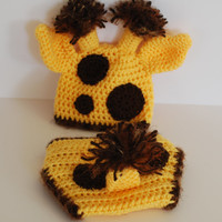 Crochet Giraffe, Baby Hats, Baby Giraffe, Newborn Photo Prop, Newborn Crochet Hats, Giraffe Diaper Cover and Hat, Crochet, Newborn Hat