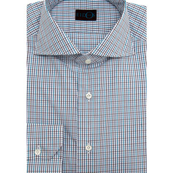 Eidos Napoli Blue with Brown Tattersall Marcus Dress Shirt