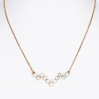 NECKLACE / CHEVRON SHAPE / NATURAL STONE BIB / METAL SETTING / LINK / CHAIN / 16 INCH LONG / 1/2 INCH DROP / NICKEL AND LEAD COMPLIANT