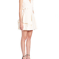 Alexander McQueen - Wool Pleated Peplum Dress - Saks Fifth Avenue Mobile