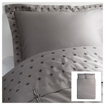VINRANKA Duvet cover and pillowsham(s) - gray, Full/Queen (Double/Queen) - IKEA
