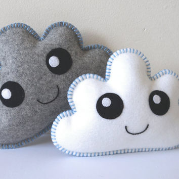 Cloud Pillow, set of two, Nursery Decor, White and Grey Clouds, Baby Shower Gift, New baby gift, Nursery gift, Cloud baby shower