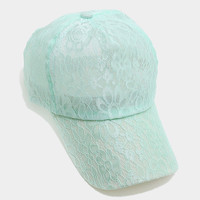 Floral Lace Baseball Cap Hat - Mint