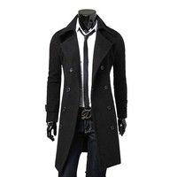 Cocobla Winter Warm Men Slim Trench Double Breasted Overcoat Long Jacketsa