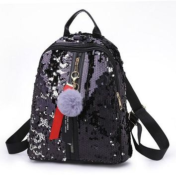 Student Backpack Children New Arrival Women All-match Bag PU Leather Sequins Backpack Girls Small Travel Princess Bling Backpacks Students School Bag AT_49_3