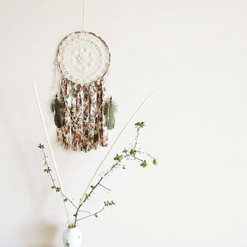 Bohemian dream catcher, large dreamcatcher, crochet doily, wall hanging, beads, roses, floral, room decor, wall decor, handmade, home decor