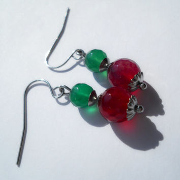 Surgical steel earrings, dangle earrings, faceted agate earrings, magenta agate, green agate, non tarnish, gemstone earrings, agate jewelry
