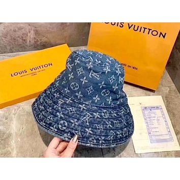 LV 2019 new women's canvas personality wild fisherman hat Blue