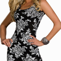 Black Baroque Print Sleeveless Bodycon Mini Dress