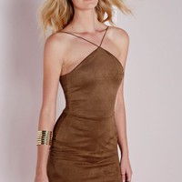 Missguided - Faux Suede Halter Bodycon Dress Tan