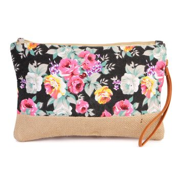 Floral Print Woven Mini Beach Bag