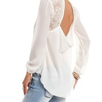 Lace Inset Button-Down Blouse: Charlotte Russe