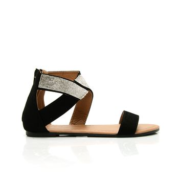 Day Dreamer Rhinestone Sandals - Black