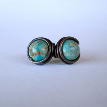 Green Sea Sediment Jasper Earrings. Wire Wrapped Stud Earrings. Wire Wrapped Earrings. Copper Jewelry. Jewelry Under 20. Gemstone Earrings