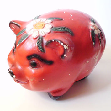 Large Vintage Chalkware Piggy Bank, Mexico