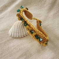 Hand Crocheted Gold and Green Bracelet