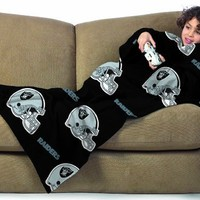 NFL Oakland Raiders Youth Size Comfy Throw Blanket with Sleeves