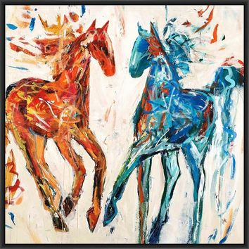 HOT HORSE COOL HORSE 28L X 28H Floater Framed Art Giclee Wrapped Canvas