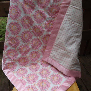 Pink and White Floral Baby Quilt with Satin Binding, Crib Quilt - Modern Designer Fabrics  - Whole Cloth Quilt
