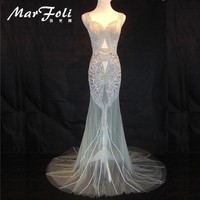 Floor-Length Full Crystal Beading Handwork Sexy Long Prom Gowns Star mash dress Evening party see through Maxi dress LF0091