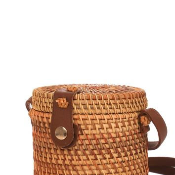 Cylinder Straw Bucket Bag