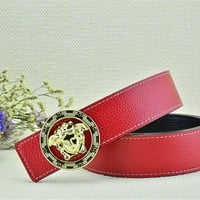 Versace Litchi Stria Belt Men's Red Leather Belt Vercase Collection