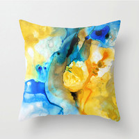 Throw Pillow Yellow And Blue Abstract  Art Design For Your Home Couch Decor Artsy Decorating Made Easy Living Room Bedroom Bedding