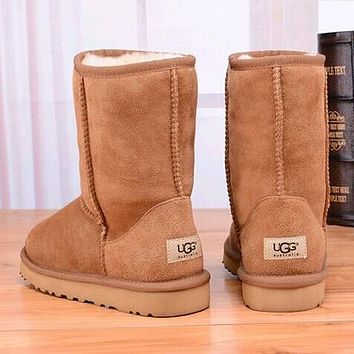 UGG Women Fashion Leather Snow Boots Half Boots Shoes