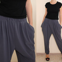 Women Harem Pants Gray Yoga Pants Loose fit Pants