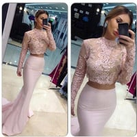 Two Pieces Long Sleeves Prom Dresses 2016