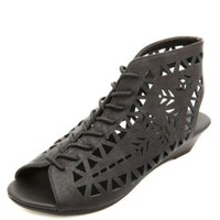 Laser Cut-Out Lace-Up Wedge Sandals by Charlotte Russe - Black