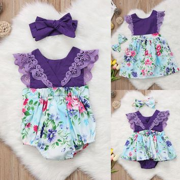 Newborn Baby Girl Sister Matching Floral Clothes Jumpsuit Romper Dress Outfits