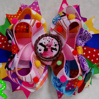 Inside out  hair bow , Bing Bong hair bow , lyered bow , stacked bow ,  imaginary friend inside out  ott bow