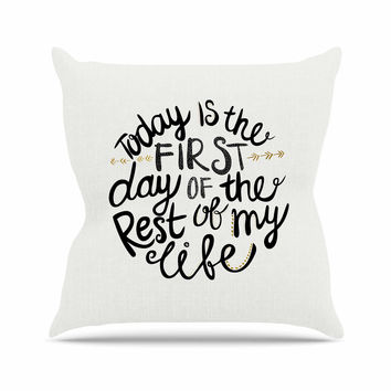 "Pom Graphic Design ""Today Is The First Day"" Black Gold Typography Illustration Outdoor Throw Pillow"
