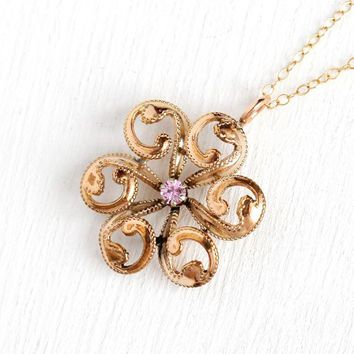 Pink Sapphire Pendant - Edwardian Era Rosy Yellow Gold Filled Brooch Conversion Necklace - Antique 1900s Pinwheel Starburst Sun Gem Jewelry