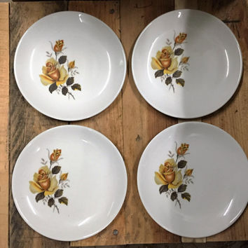 Set of Four (4) Vintage 1970s Dinner Plates with a Gold Rose Design - made by Johnson of Australia / Vintage Stoneware Dinner Plates
