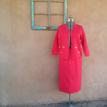 Vintage 1960s Red Wool Suit Wiggle Dress US10 W28 2014524
