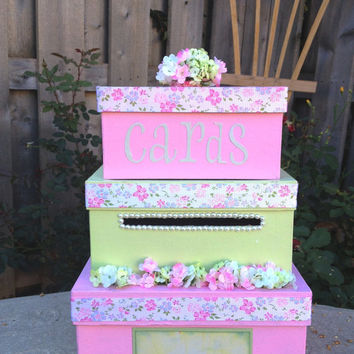 Custom Square Wedding Card Box, 3 Tier, Shabby Chic, Pink and Green