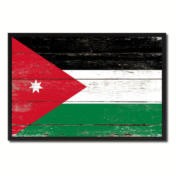 Jordan Country National Flag Vintage Canvas Print with Picture Frame Home Decor Wall Art Collection Gift Ideas