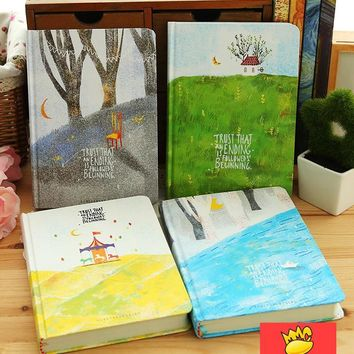"""Forest Life"" Journal Diary Colorful Drawing Pages Hard Cute Planner Notebook Notepad Study Memo"
