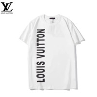 LV Louis Vuitton Summer New Fashion Reflective Letter Print Leisure Women Men Top T-Shirt White