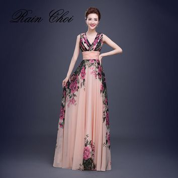 Flower Pattern Floral Print Chiffon Prom Gown Gown Party Elegant Long Evening dresses 2017