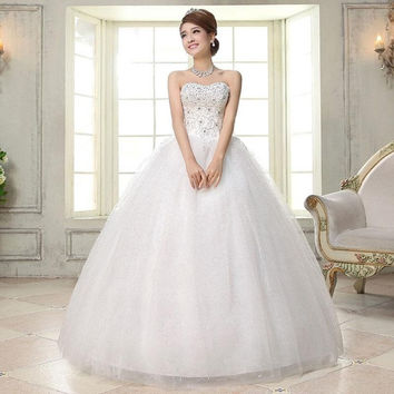 Rock New Designed Women Ruched Lace up  Swing Wedding Dresses Skirt Show Party Bling Fashion Tulle Lace Ball Gown Bridal Organza Strapless R_WVA001 = 1930238212