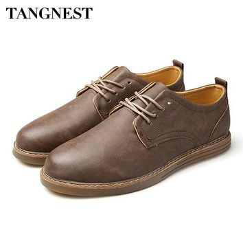 Tangnest Vintage Cow Split Leather Flats Shoes Men Summer New Round Toe Casual Shoes Western Cowboy Work Shoes Man Oxfords