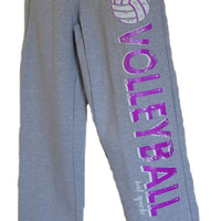 Volleyball Sweatpants in Gray with Purple Print