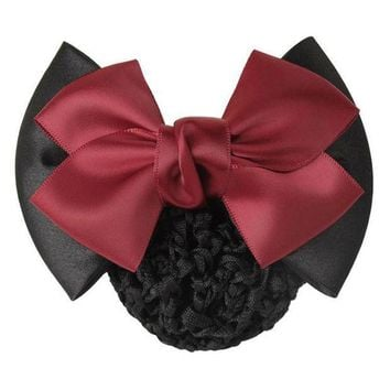 ICIKW8 1 PC Sweet Girl Satin Bow Barrette Lady Hair Clip Cover Bowknot Bun Snood Women Hair Accessories QLM
