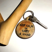 Keychain Keep calm and carry a wand. Keyring Natural Key Ring Gift Ornament Key Chain. Personalized Wooden Keychain. Custom name keychain.