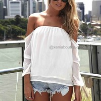 OFF THE SHOULDER TOP , DRESSES, TOPS, BOTTOMS, JACKETS & JUMPERS, ACCESSORIES, 50% OFF SALE, PRE ORDER, NEW ARRIVALS, PLAYSUIT, COLOUR, GIFT VOUCHER,,White,STRAPLESS Australia, Queensland, Brisbane