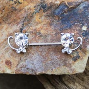 316L Stainless Steel Jeweled Kitty Cat Nipple Bar