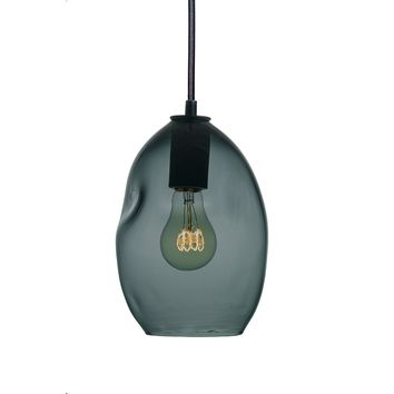 Bubble Blue Green Grey Hand Blown Glass Pendant Light- Small Limited Edition
